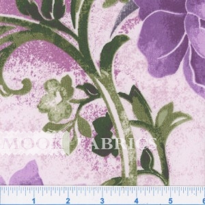 POLISHED PERCALE, SCROLL FLOWER - PURPLE