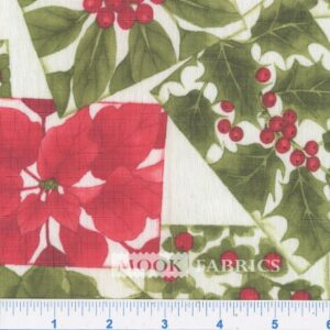 TABLETOP, POINSETTIA PATCH  1114-05 - WHITE-RED