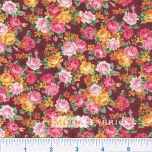 COTTON, COUNTRY FLORAL- 17 - BURGUNDY