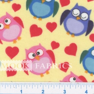 MELODY PRT FLANNEL, OWLS - YELLOW