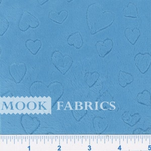 FLEECE CUDDLE EMBOSSED, HEARTS - AQUA