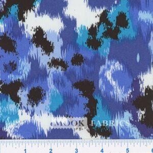 RAYON CHALLIS, EMM 26Y8 - BLUE-WHITE-BLACK