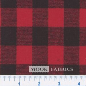 YARN DYED FLANNEL, SMALL BUFFALO CHECK - RED