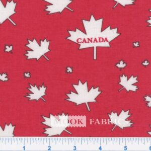 FLANNEL, CANADA LEAF - RED