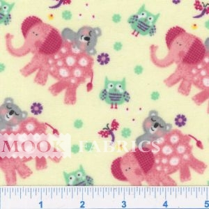 FLANNEL SNUGGY PRT, OWL ELEPHANT - YELLOW