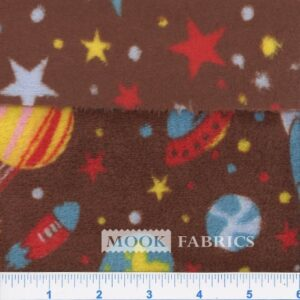 FLEECE FLANNEL 2-SIDED, 160001 SPACE STAR - BROWN 5002